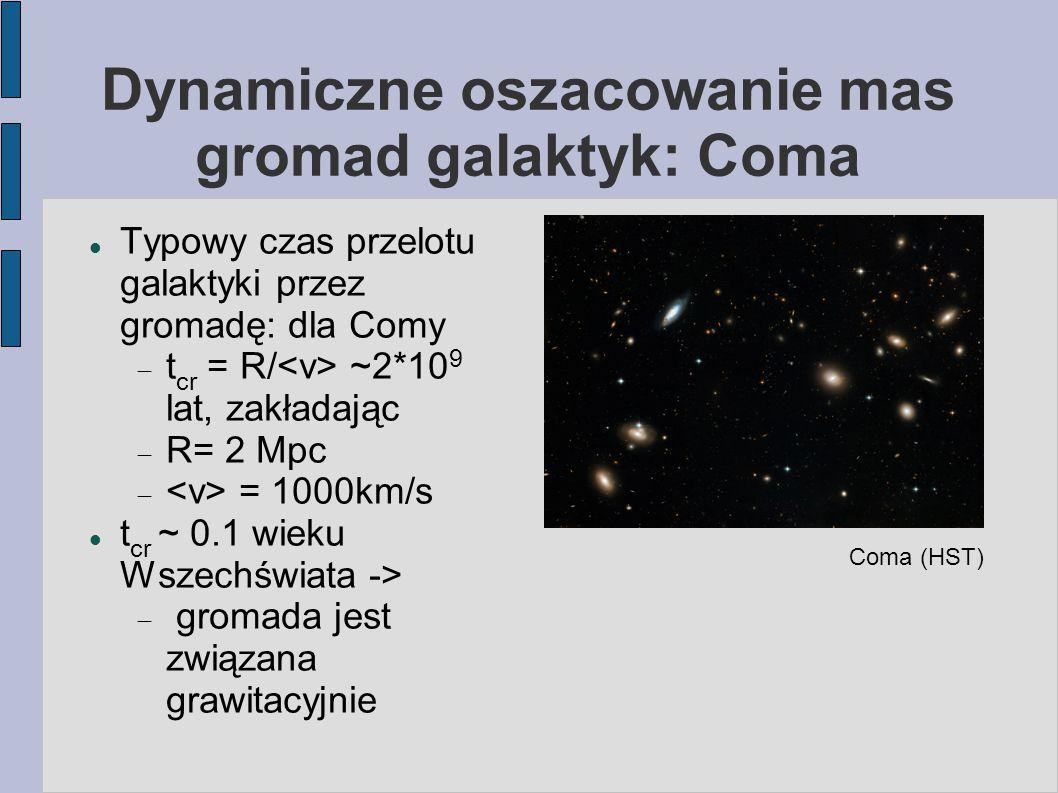 Dynamiczne oszacowanie mas gromad galaktyk: Coma Typowy czas przelotu galaktyki przez gromadę: dla Comy  t cr = R/ ~2*10 9 lat, zakładając  R= 2 Mpc