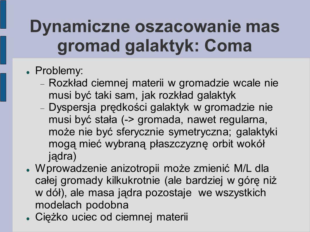 Dynamiczne oszacowanie mas gromad galaktyk: Coma Problemy:  Rozkład ciemnej materii w gromadzie wcale nie musi być taki sam, jak rozkład galaktyk  D