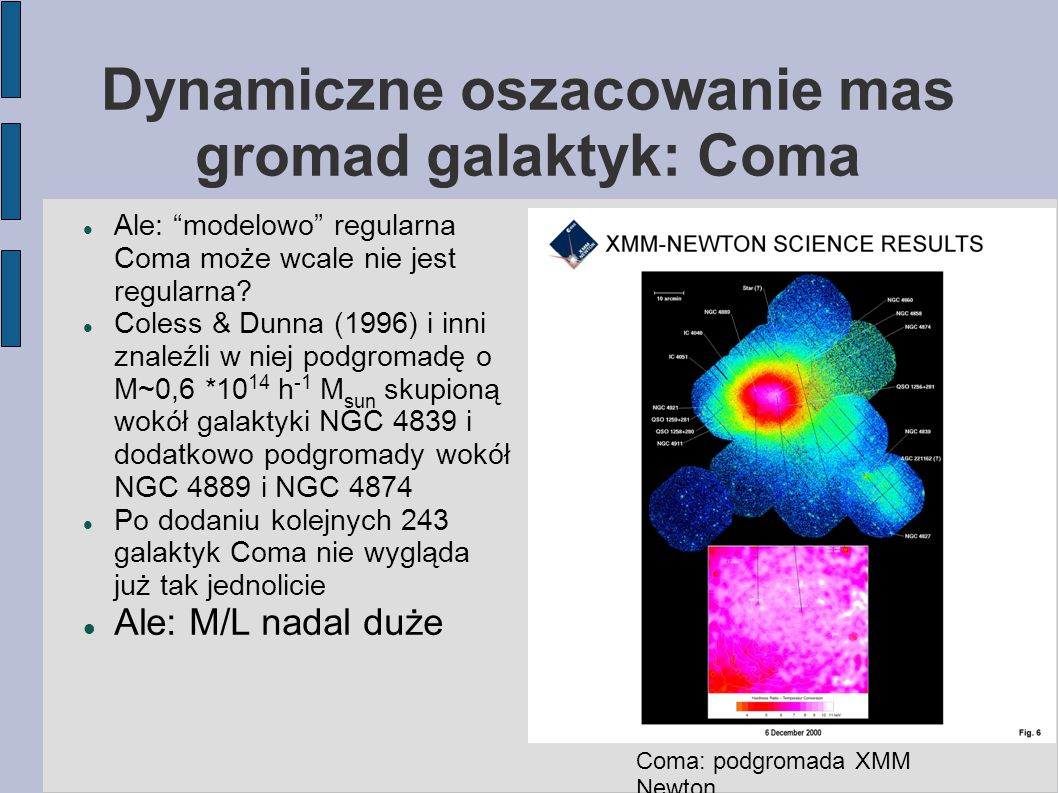 """Dynamiczne oszacowanie mas gromad galaktyk: Coma Ale: """"modelowo"""" regularna Coma może wcale nie jest regularna? Coless & Dunna (1996) i inni znaleźli w"""