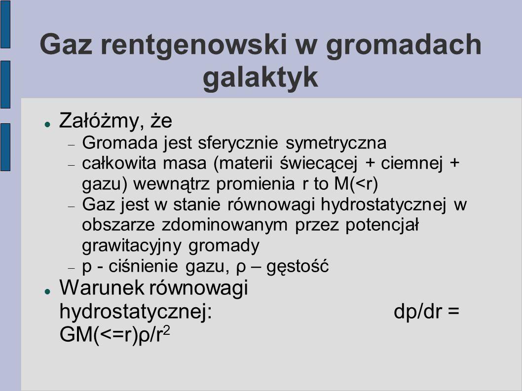 Gaz rentgenowski w gromadach galaktyk Załóżmy, że  Gromada jest sferycznie symetryczna  całkowita masa (materii świecącej + ciemnej + gazu) wewnątrz