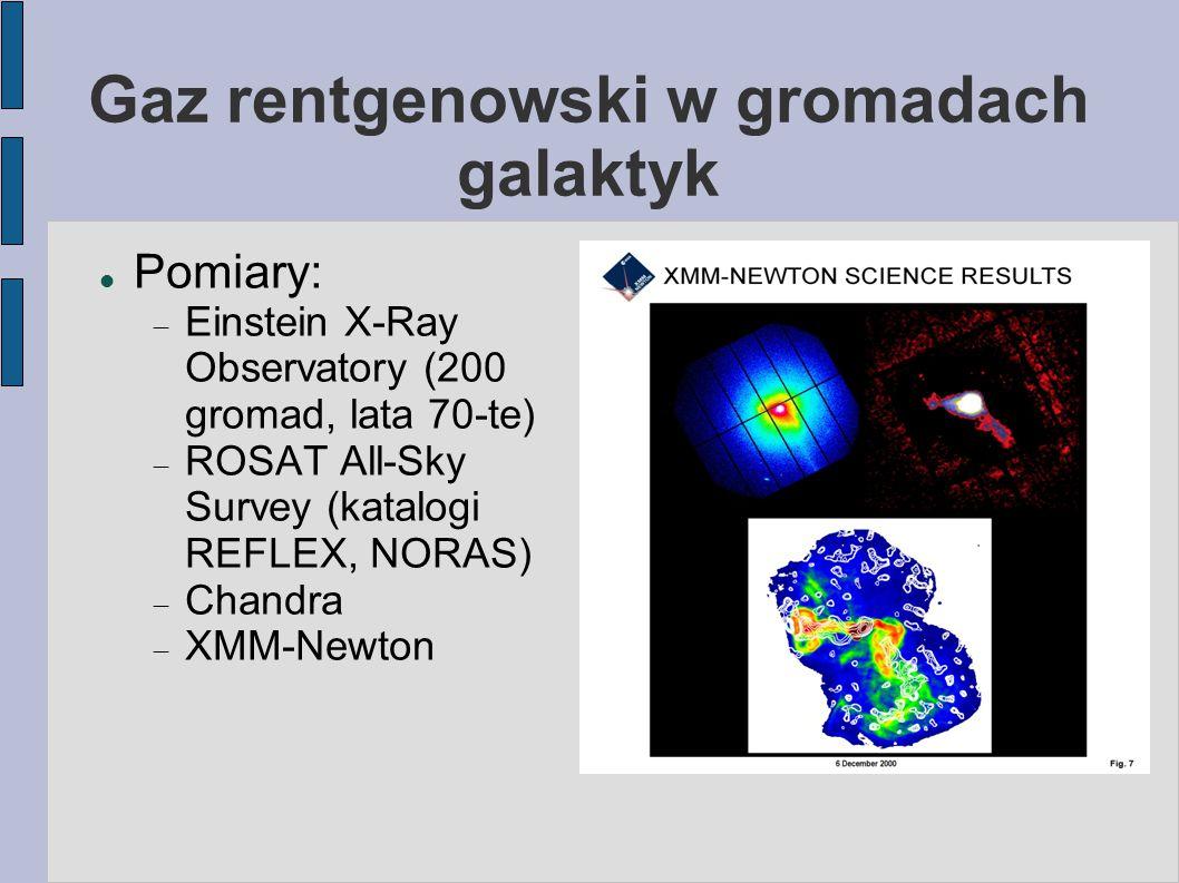 Gaz rentgenowski w gromadach galaktyk Pomiary:  Einstein X-Ray Observatory (200 gromad, lata 70-te)  ROSAT All-Sky Survey (katalogi REFLEX, NORAS)