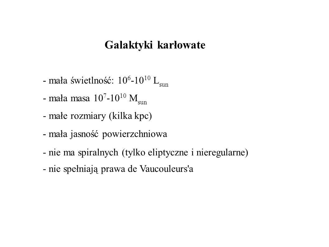 Galaktyki karłowate - mała świetlność: 10 6 -10 10 L sun - mała masa 10 7 -10 10 M sun - mała jasność powierzchniowa - małe rozmiary (kilka kpc) - nie ma spiralnych (tylko eliptyczne i nieregularne) - nie spełniają prawa de Vaucouleurs a