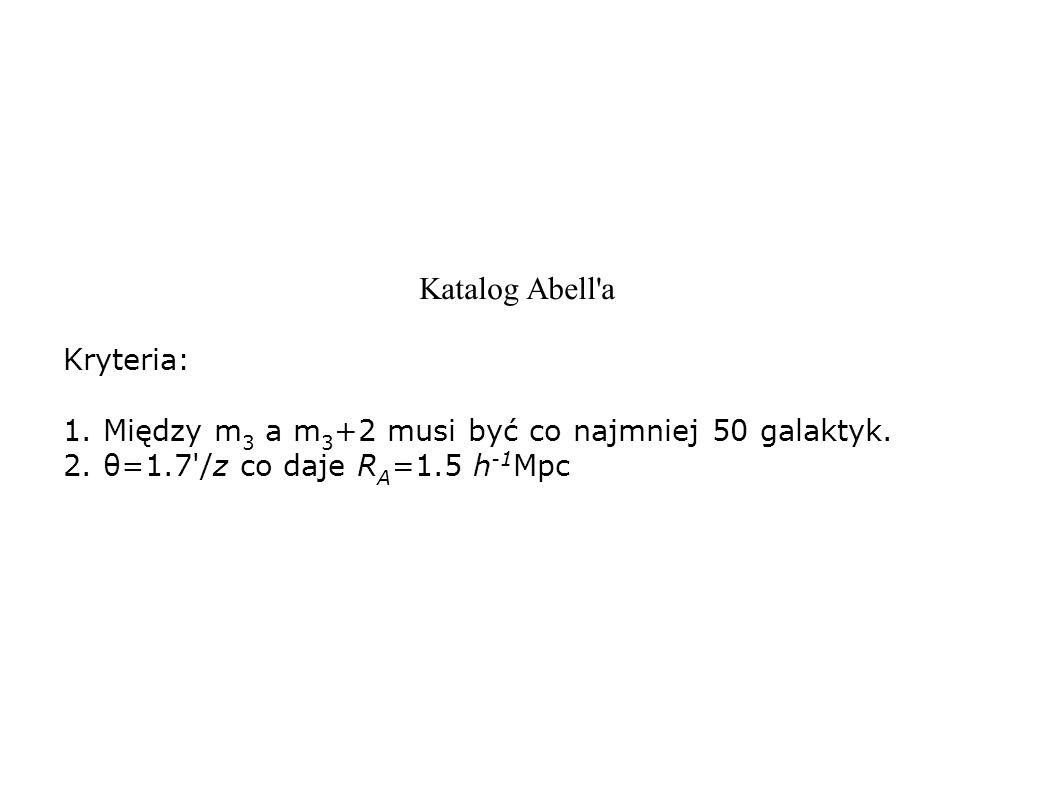 Katalog Abell'a Kryteria: 1. Między m 3 a m 3 +2 musi być co najmniej 50 galaktyk. 2. θ=1.7'/z co daje R A =1.5 h -1 Mpc