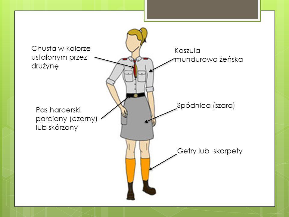 Koszula mundurowa żeńska Chusta w kolorze ustalonym przez drużynę Pas harcerski parciany (czarny) lub skórzany Spódnica (szara) Getry lub skarpety