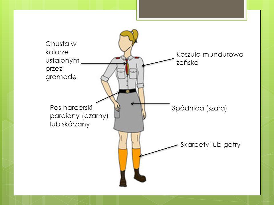 Koszula mundurowa żeńska Chusta w kolorze ustalonym przez gromadę Spódnica (szara) Pas harcerski parciany (czarny) lub skórzany Skarpety lub getry
