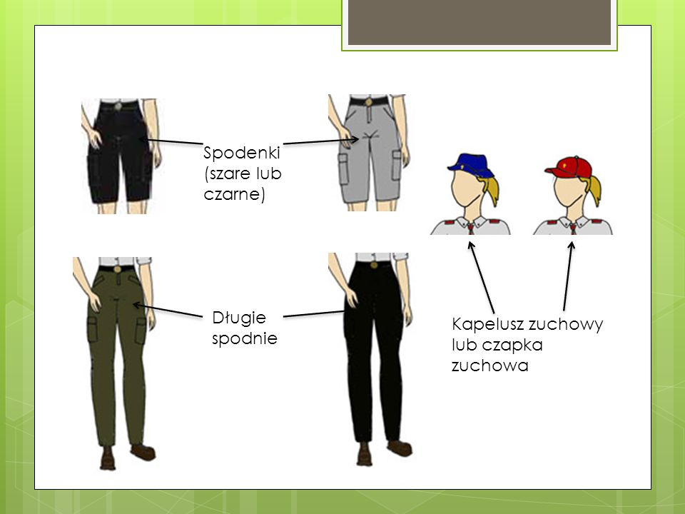 Spodenki (szare lub czarne) Długie spodnie Kapelusz zuchowy lub czapka zuchowa