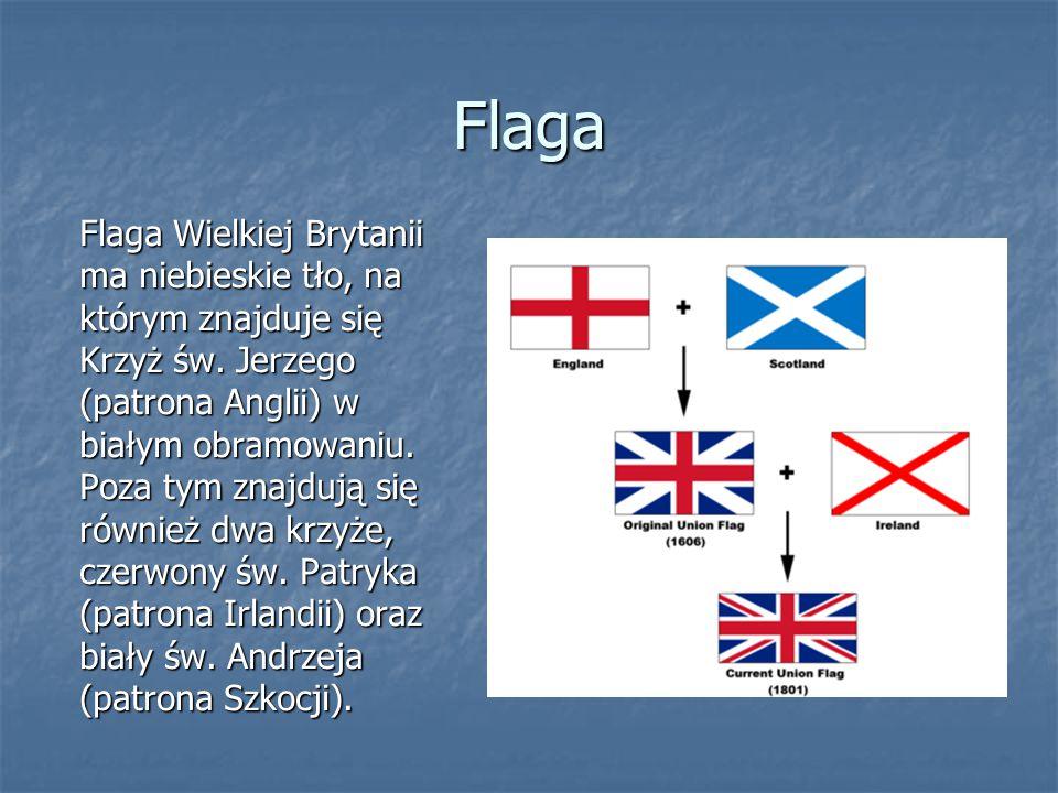 Flaga Flaga Wielkiej Brytanii ma niebieskie tło, na którym znajduje się Krzyż św. Jerzego (patrona Anglii) w białym obramowaniu. Poza tym znajdują się