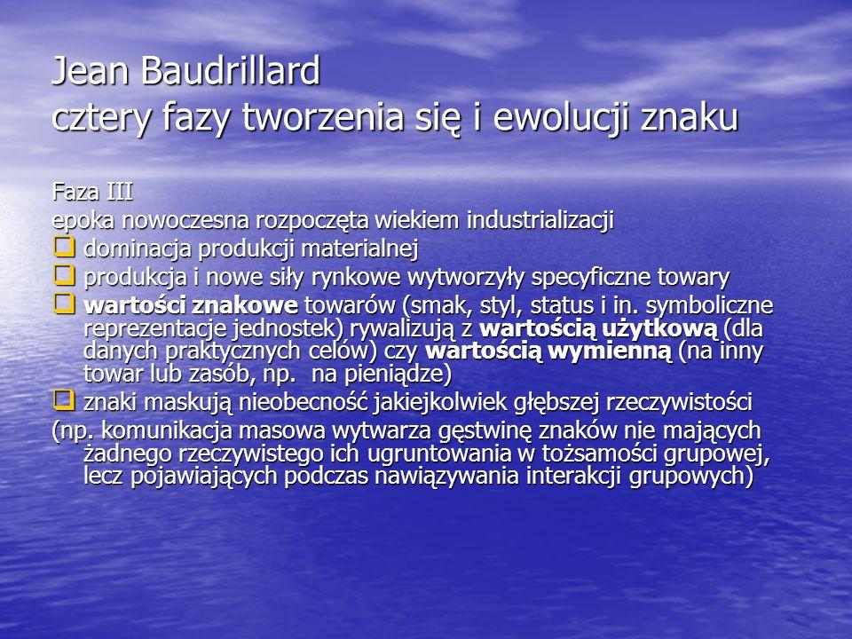 Jean Baudrillard cztery fazy tworzenia się i ewolucji znaku Faza III epoka nowoczesna rozpoczęta wiekiem industrializacji  dominacja produkcji materialnej  produkcja i nowe siły rynkowe wytworzyły specyficzne towary  wartości znakowe towarów (smak, styl, status i in.