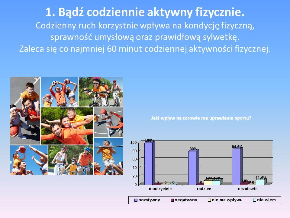 1. Bądź codziennie aktywny fizycznie. Codzienny ruch korzystnie wpływa na kondycję fizyczną, sprawność umysłową oraz prawidłową sylwetkę. Zaleca się c