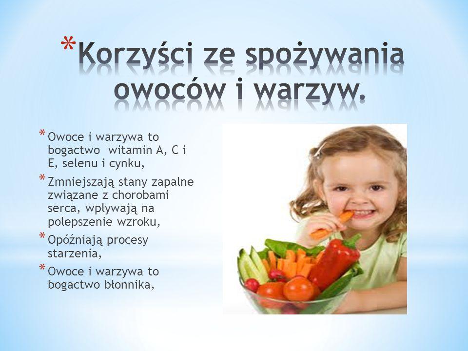 * Owoce i warzywa to bogactwo witamin A, C i E, selenu i cynku, * Zmniejszają stany zapalne związane z chorobami serca, wpływają na polepszenie wzroku, * Opóźniają procesy starzenia, * Owoce i warzywa to bogactwo błonnika,