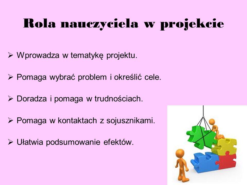 Rola nauczyciela w projekcie  Wprowadza w tematykę projektu.