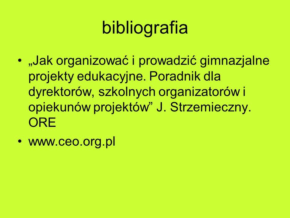 """bibliografia """"Jak organizować i prowadzić gimnazjalne projekty edukacyjne."""