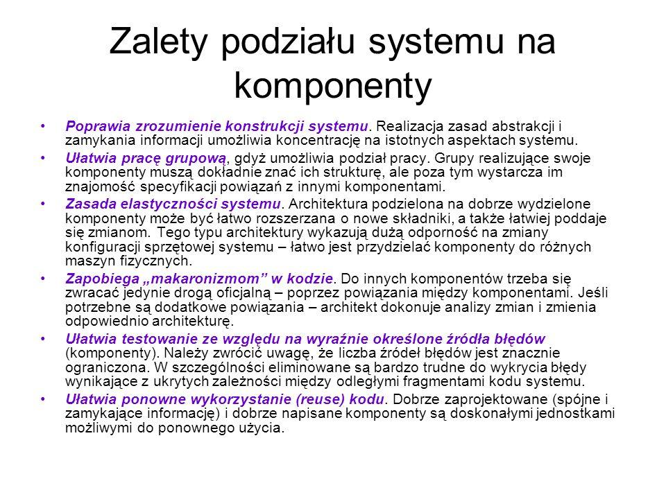 Zalety podziału systemu na komponenty Poprawia zrozumienie konstrukcji systemu. Realizacja zasad abstrakcji i zamykania informacji umożliwia koncentra