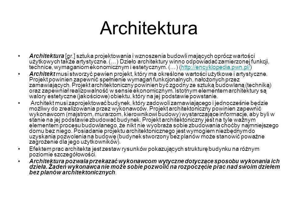 Architektura Architektura [gr.] sztuka projektowania i wznoszenia budowli mających oprócz wartości użytkowych także artystyczne. (…) Dzieło architektu