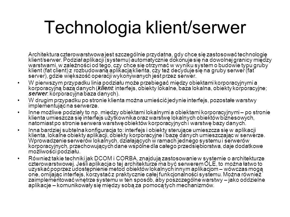 Technologia klient/serwer Architektura czterowarstwowa jest szczególnie przydatna, gdy chce się zastosować technologię klient/serwer. Podział aplikacj