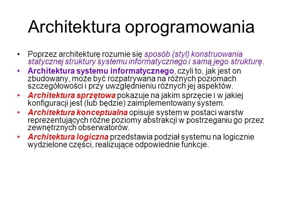 Architektura oprogramowania Poprzez architekturę rozumie się sposób (styl) konstruowania statycznej struktury systemu informatycznego i samą jego stru