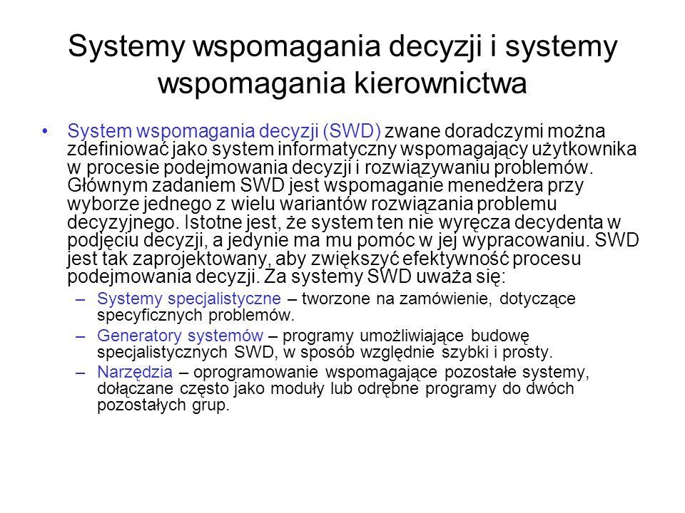 Systemy wspomagania decyzji i systemy wspomagania kierownictwa System wspomagania decyzji (SWD) zwane doradczymi można zdefiniować jako system informa