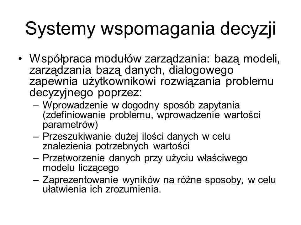 Systemy wspomagania decyzji Współpraca modułów zarządzania: bazą modeli, zarządzania bazą danych, dialogowego zapewnia użytkownikowi rozwiązania probl