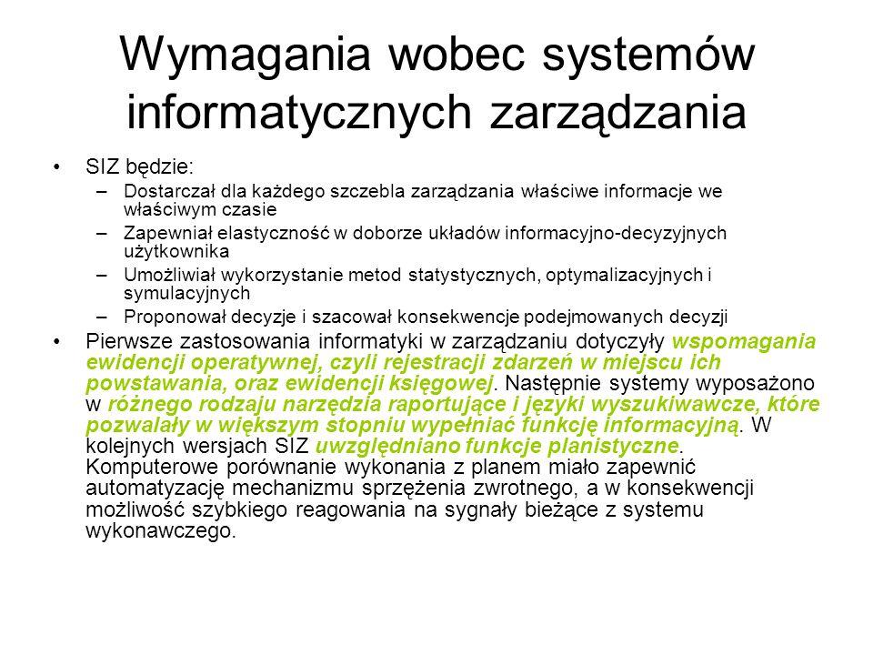 Wymagania wobec systemów informatycznych zarządzania SIZ będzie: –Dostarczał dla każdego szczebla zarządzania właściwe informacje we właściwym czasie