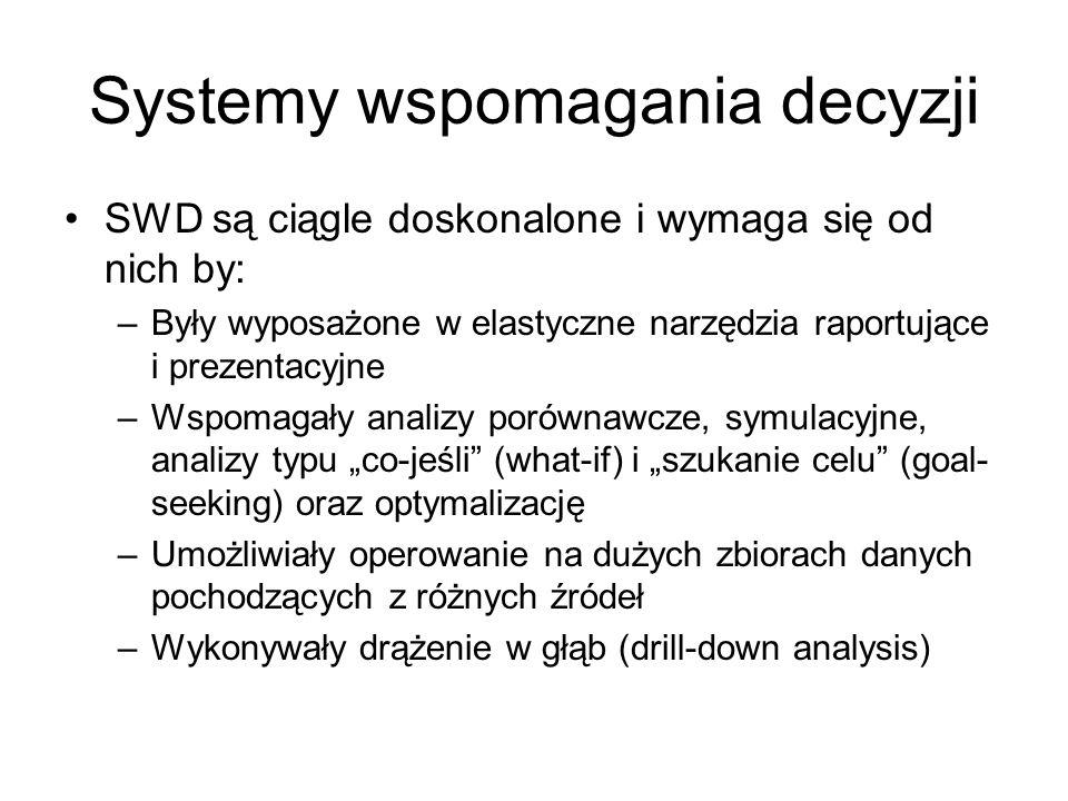 Systemy wspomagania decyzji SWD są ciągle doskonalone i wymaga się od nich by: –Były wyposażone w elastyczne narzędzia raportujące i prezentacyjne –Ws