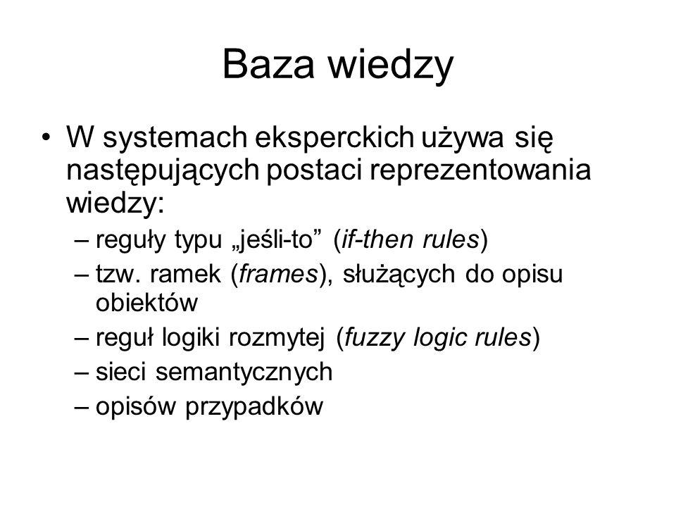"""Baza wiedzy W systemach eksperckich używa się następujących postaci reprezentowania wiedzy: –reguły typu """"jeśli-to"""" (if-then rules) –tzw. ramek (frame"""