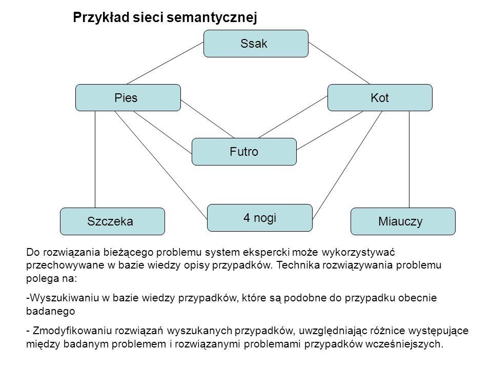 Ssak PiesKot Futro SzczekaMiauczy 4 nogi Przykład sieci semantycznej Do rozwiązania bieżącego problemu system ekspercki może wykorzystywać przechowywa