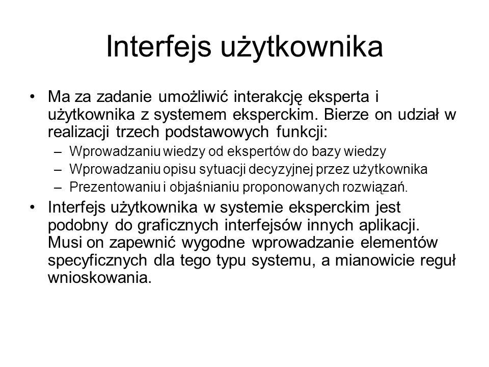 Interfejs użytkownika Ma za zadanie umożliwić interakcję eksperta i użytkownika z systemem eksperckim. Bierze on udział w realizacji trzech podstawowy