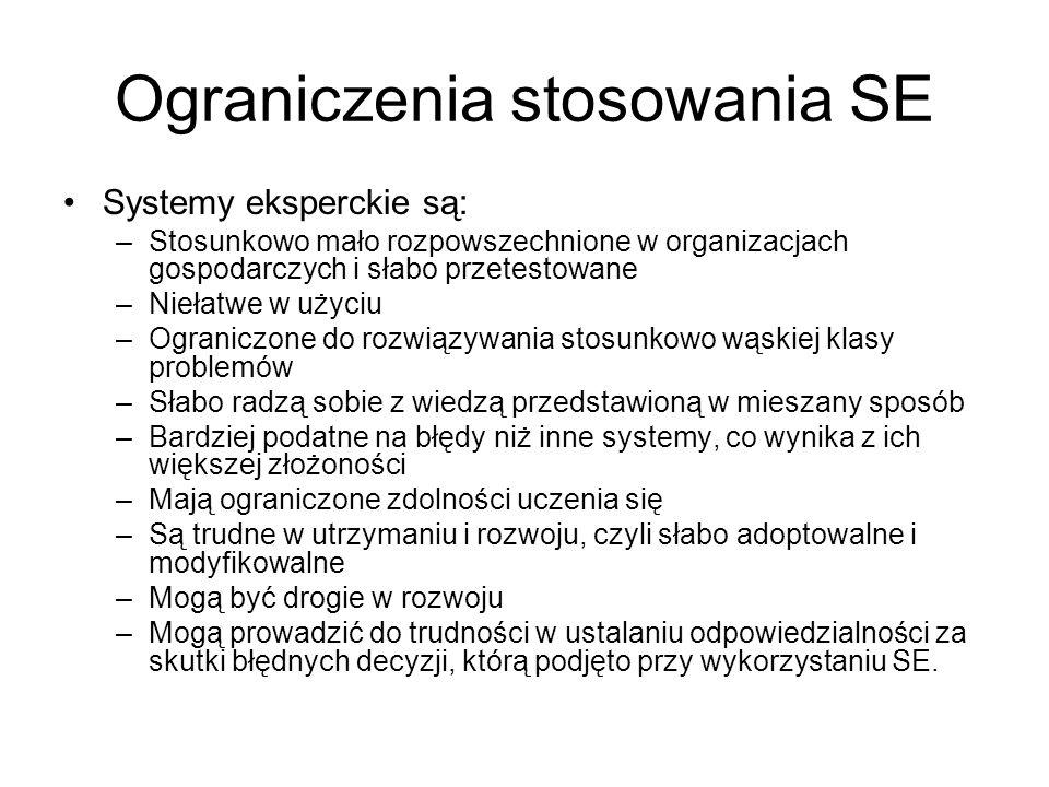Ograniczenia stosowania SE Systemy eksperckie są: –Stosunkowo mało rozpowszechnione w organizacjach gospodarczych i słabo przetestowane –Niełatwe w uż