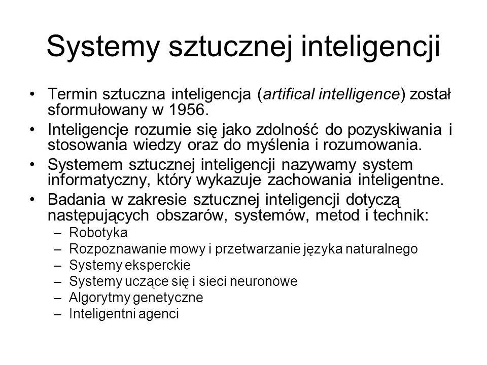 Systemy sztucznej inteligencji Termin sztuczna inteligencja (artifical intelligence) został sformułowany w 1956. Inteligencje rozumie się jako zdolnoś