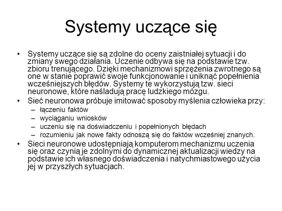 Systemy uczące się Systemy uczące się są zdolne do oceny zaistniałej sytuacji i do zmiany swego działania. Uczenie odbywa się na podstawie tzw. zbioru