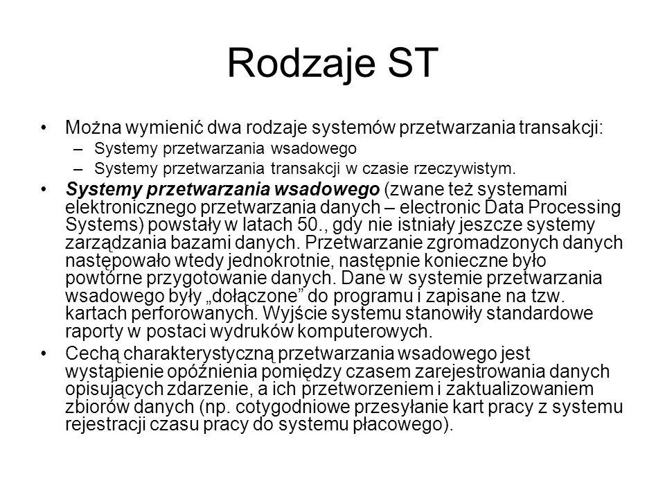 Rodzaje ST Można wymienić dwa rodzaje systemów przetwarzania transakcji: –Systemy przetwarzania wsadowego –Systemy przetwarzania transakcji w czasie r
