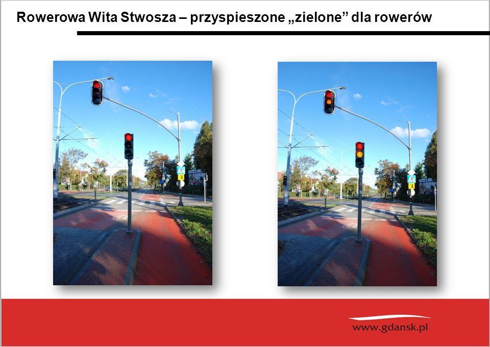 """pasy rowerowe w jezdni śluzy rowerowe skręt """"na dwa sygnalizacja świetlna dla rowerzystów Rowerowa Wita Stwosza – śluzy rowerowe klasyczne i do skrętu """"na dwa"""