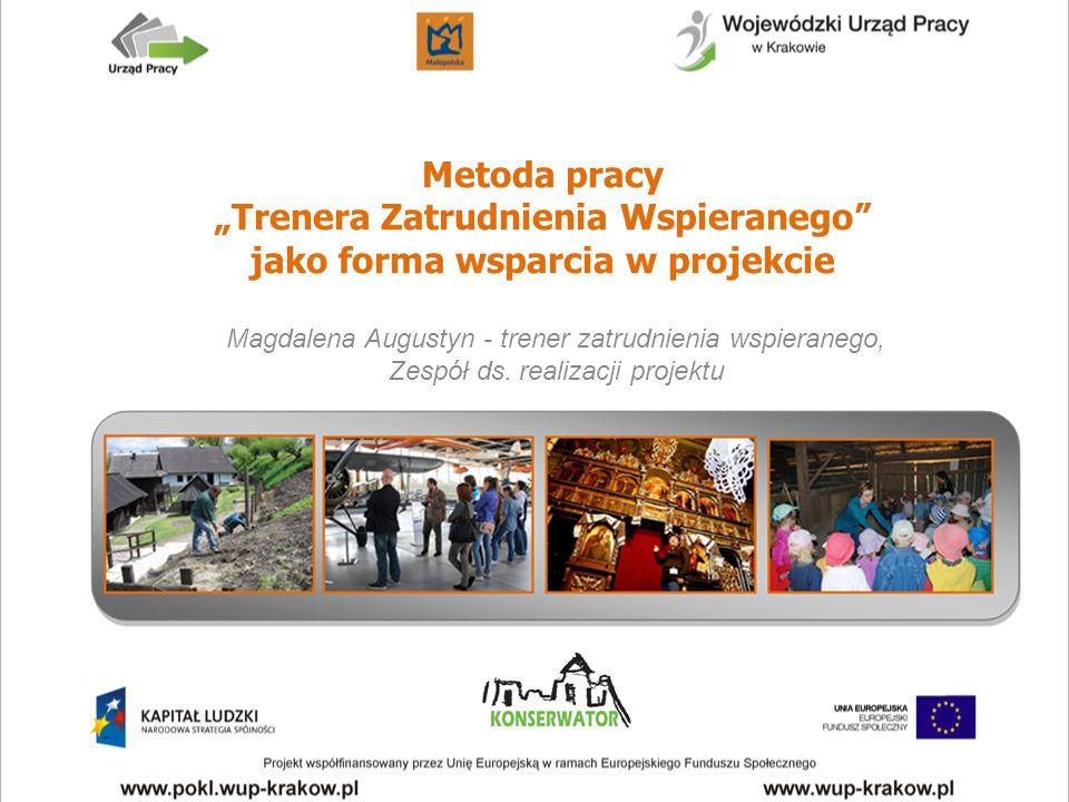 """Metoda pracy """"Trenera Zatrudnienia Wspieranego"""" jako forma wsparcia w projekcie Magdalena Augustyn - trener zatrudnienia wspieranego, Zespół ds. reali"""