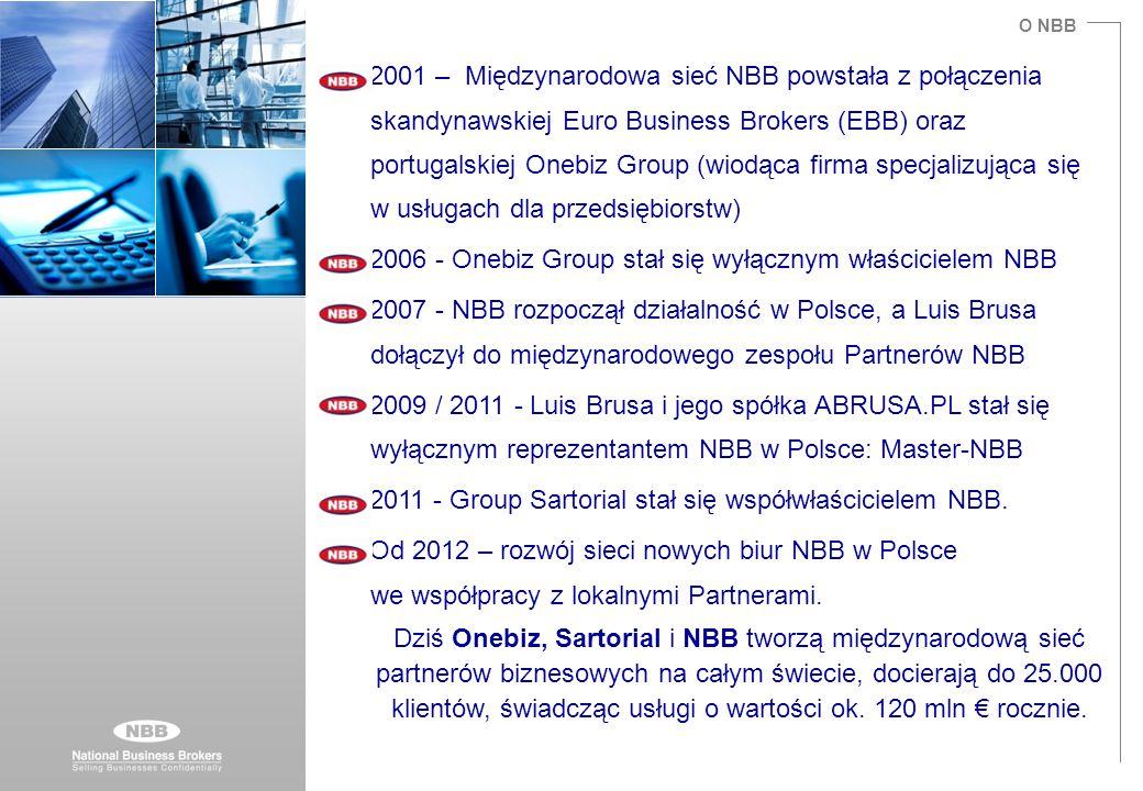 O NBB 2001 – Międzynarodowa sieć NBB powstała z połączenia skandynawskiej Euro Business Brokers (EBB) oraz portugalskiej Onebiz Group (wiodąca firma s