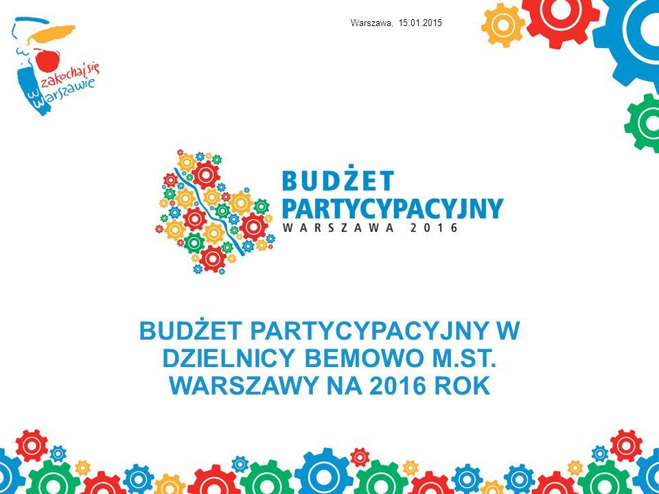 BUDŻET PARTYCYPACYJNY W DZIELNICY BEMOWO M.ST. WARSZAWY NA 2016 ROK Warszawa, 15.01.2015