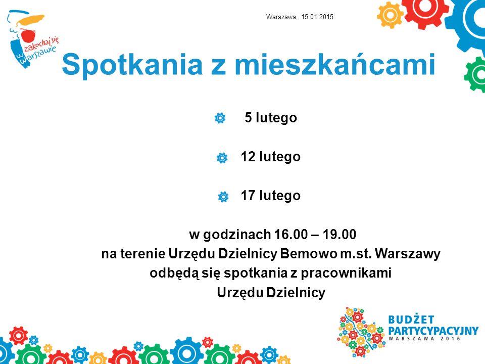 Spotkania z mieszkańcami 5 lutego 12 lutego 17 lutego w godzinach 16.00 – 19.00 na terenie Urzędu Dzielnicy Bemowo m.st.