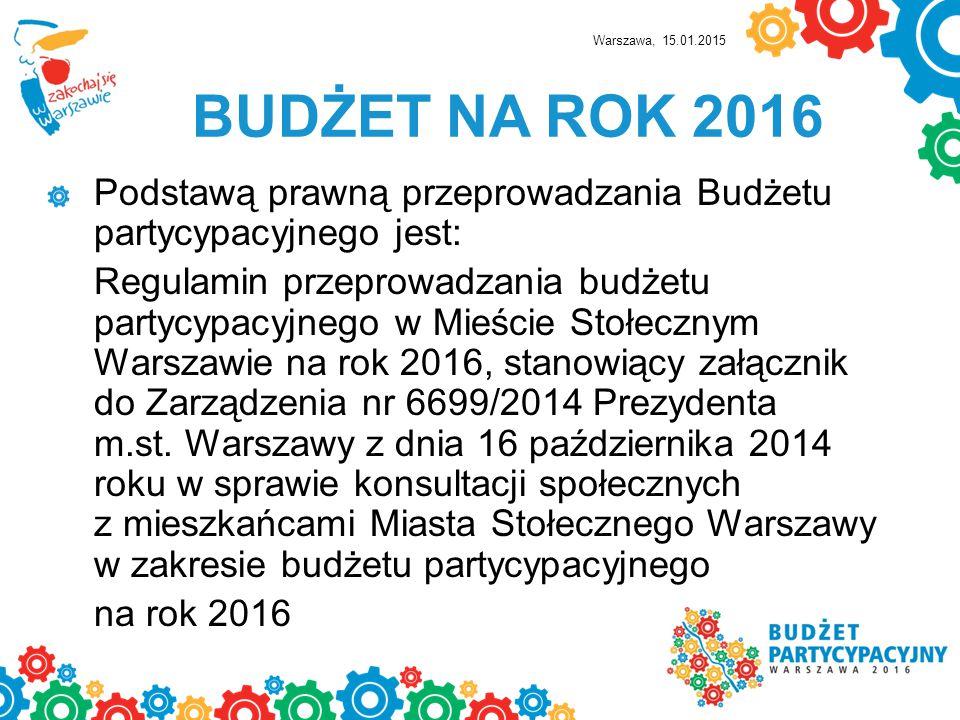 BUDŻET NA ROK 2016 KWOTA PRZEZNACZONA W RAMACH BUDŻETU PARTYCYPACYJNEGO W DZIELNICY BEMOWO NA ROK 2016 TO 2 117 247,00 ZŁOTYCH CO STANOWI 1 % BUDŻETU DZIELNICY Warszawa, 15.01.2015