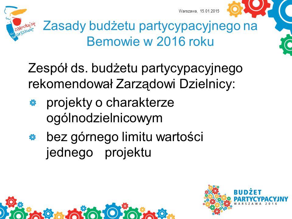 Zasady budżetu partycypacyjnego na Bemowie w 2016 roku Zespół ds.