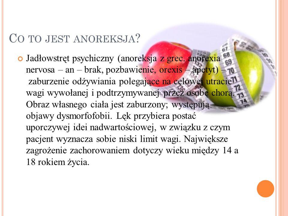C O TO JEST ANOREKSJA .Jadłowstręt psychiczny (anoreksja z grec.
