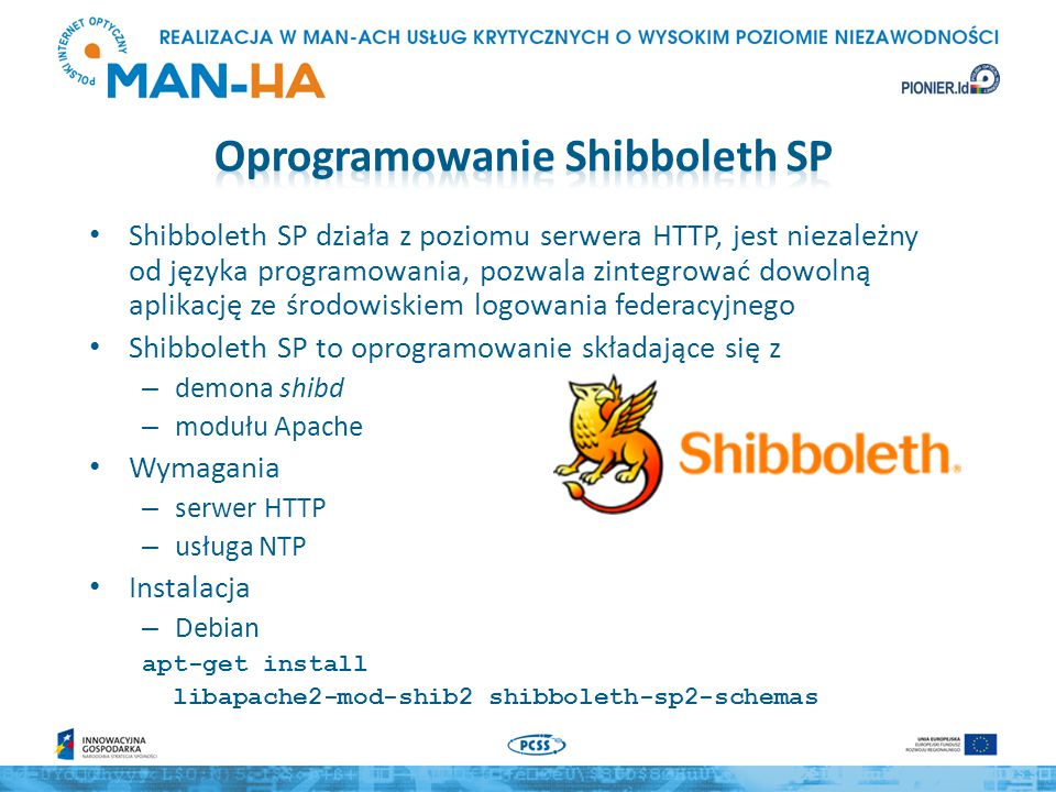 Shibboleth SP działa z poziomu serwera HTTP, jest niezależny od języka programowania, pozwala zintegrować dowolną aplikację ze środowiskiem logowania
