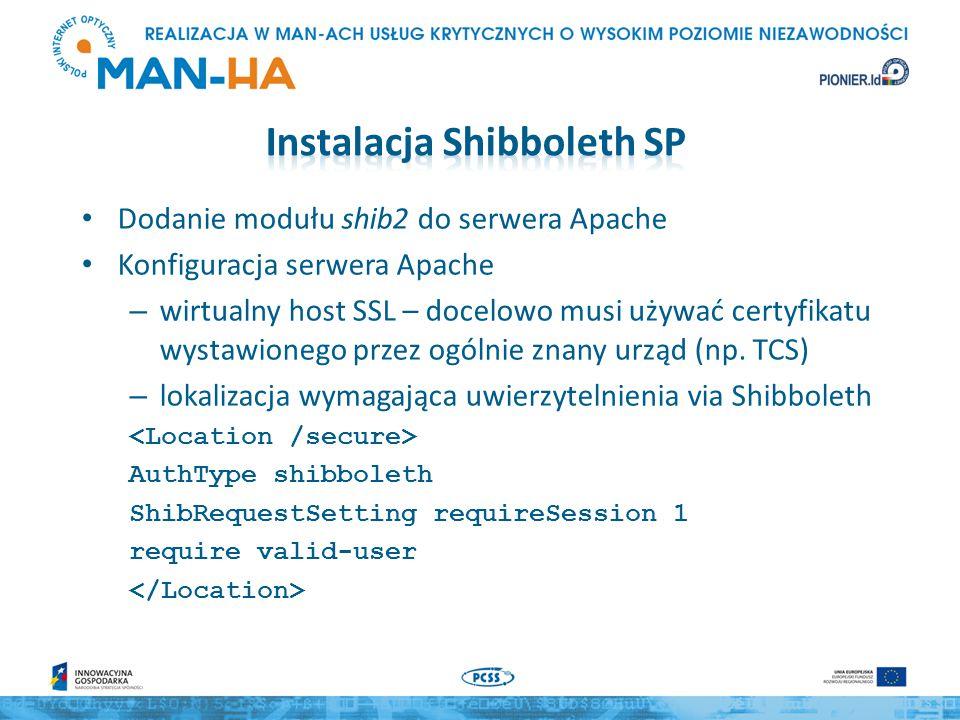 Dodanie modułu shib2 do serwera Apache Konfiguracja serwera Apache – wirtualny host SSL – docelowo musi używać certyfikatu wystawionego przez ogólnie