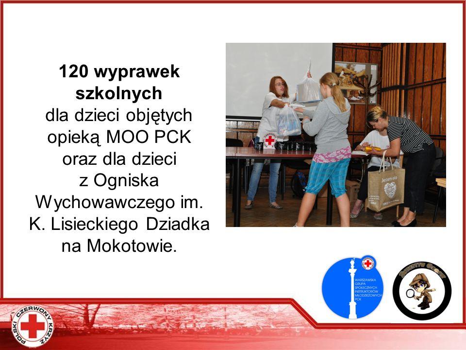 120 wyprawek szkolnych dla dzieci objętych opieką MOO PCK oraz dla dzieci z Ogniska Wychowawczego im. K. Lisieckiego Dziadka na Mokotowie.