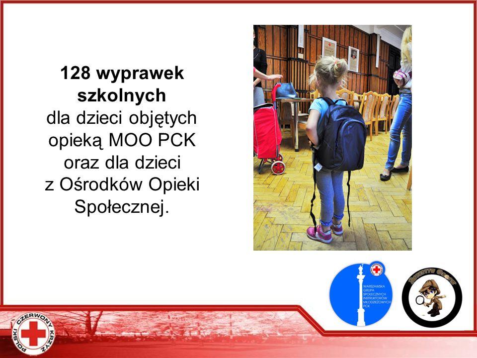 128 wyprawek szkolnych dla dzieci objętych opieką MOO PCK oraz dla dzieci z Ośrodków Opieki Społecznej.