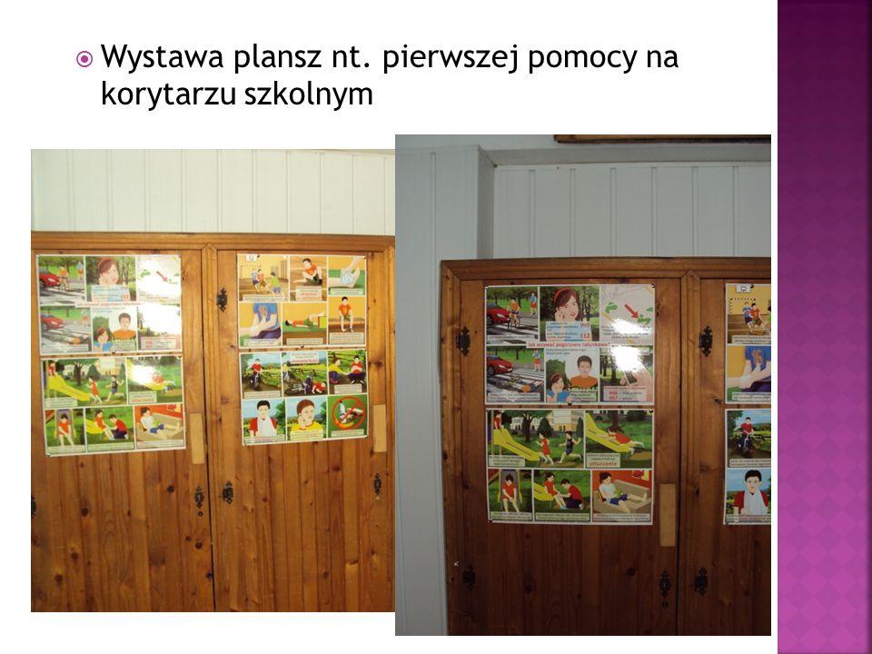  Wystawa plansz nt. pierwszej pomocy na korytarzu szkolnym