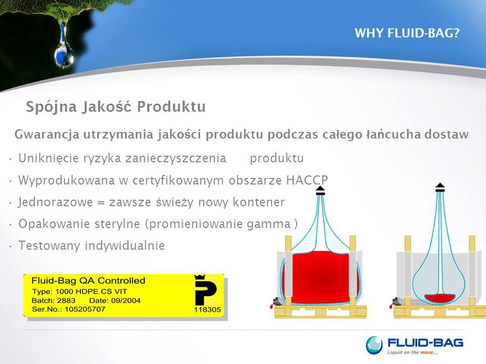 WHY FLUID-BAG? Spójna Jako ść Produktu Unikni ę cie ryzyka zanieczyszczenia produktu Wyprodukowana w certyfikowanym obszarze HACCP Jednorazowe = zawsz