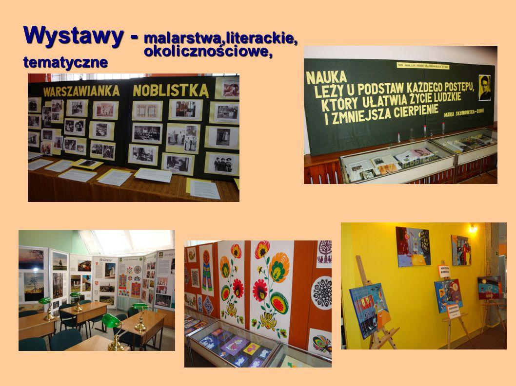Wystawy - malarstwa,literackie, okolicznościowe, tematyczne okolicznościowe, tematyczne