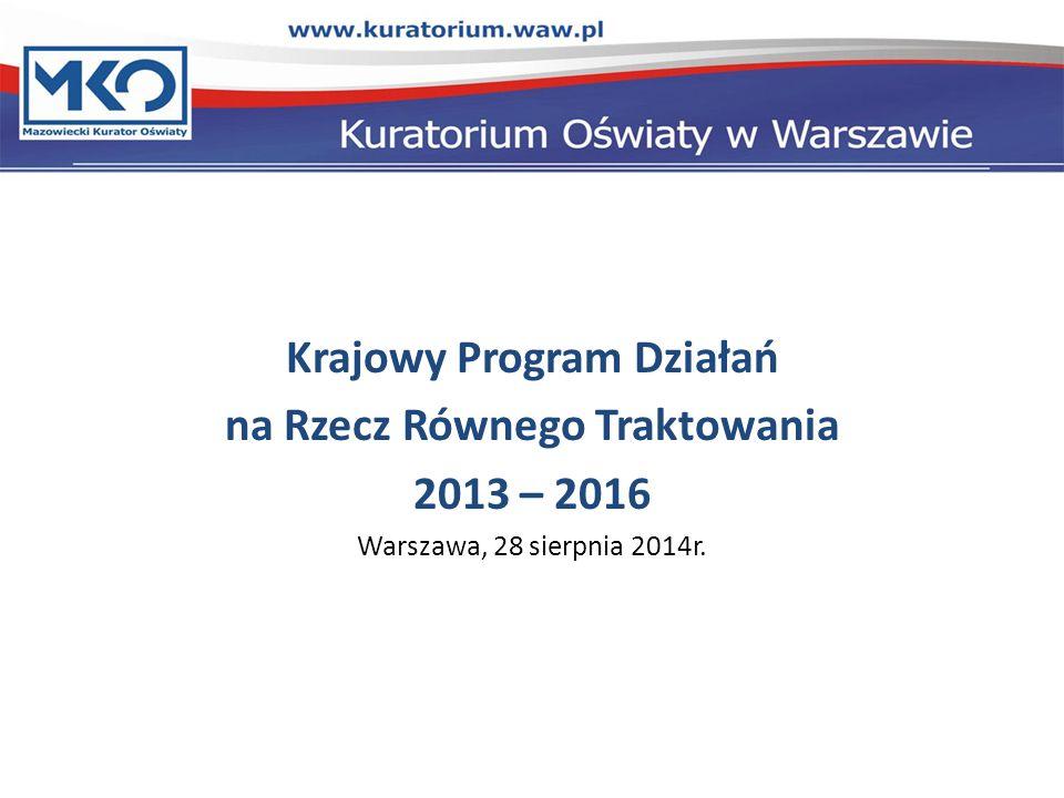 Krajowy Program Działań na Rzecz Równego Traktowania 2013 – 2016 Warszawa, 28 sierpnia 2014r.