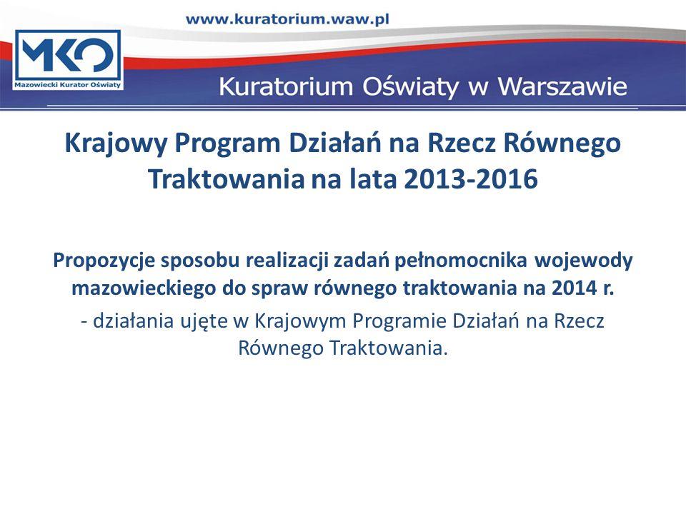 Krajowy Program Działań na Rzecz Równego Traktowania na lata 2013-2016 Propozycje sposobu realizacji zadań pełnomocnika wojewody mazowieckiego do spraw równego traktowania na 2014 r.