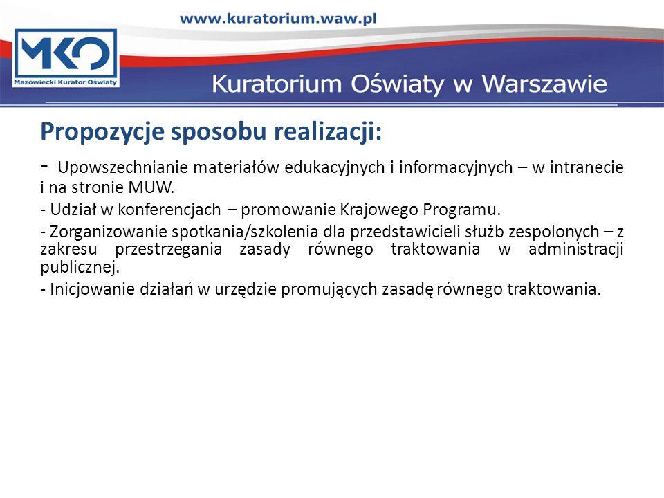 Propozycje sposobu realizacji: - Upowszechnianie materiałów edukacyjnych i informacyjnych – w intranecie i na stronie MUW.