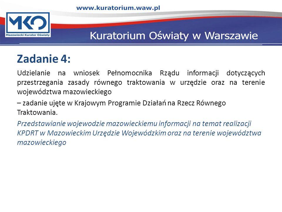 Zadanie 4: Udzielanie na wniosek Pełnomocnika Rządu informacji dotyczących przestrzegania zasady równego traktowania w urzędzie oraz na terenie województwa mazowieckiego – zadanie ujęte w Krajowym Programie Działań na Rzecz Równego Traktowania.